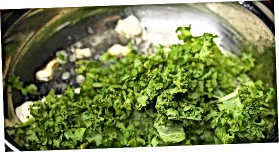 Sautéeing Curly Kale