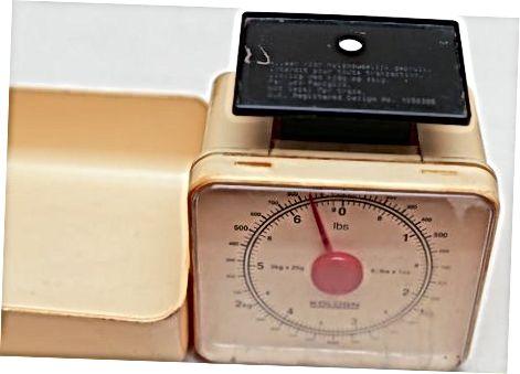 Miltų matavimas pagal svorį