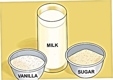 Fazendo sorvete de baunilha com leite normal