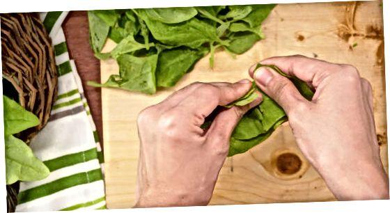 Zmrazenie čerstvého špenátu