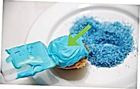 Koekjesmonster Cupcakes maken met blauwe kokosnoot
