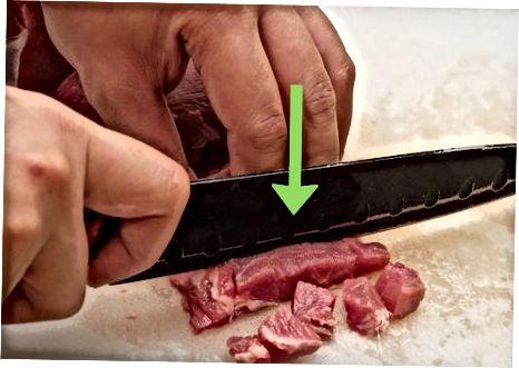 Sautéing Diced Beef