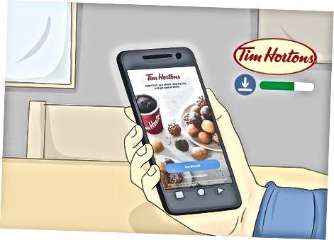 """Kavos užsakymas naudojant """"Tim Hortons App"""""""