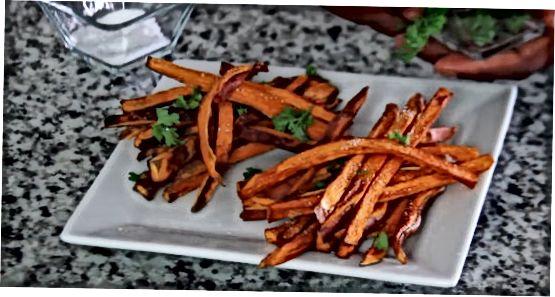 Saldžių bulvių bulvyčių gaminimas