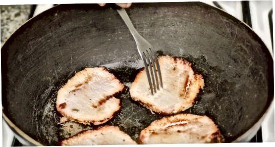 Pan-Frying Ham til að hita aftur