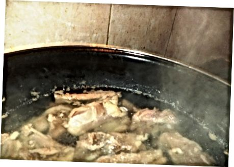 Cooking the Mutton Pieces
