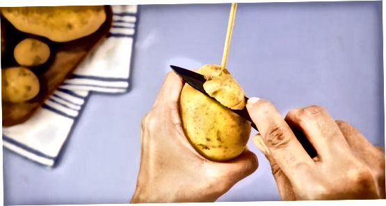 Spiraalaardappelen of chips maken op een stokje