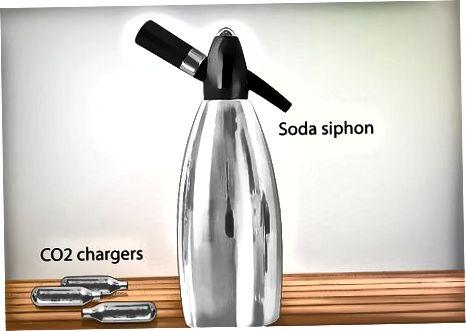 სოდა სიფონის ან Seltzer ბოთლის გამოყენებით
