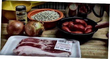 Zubereitung der Zutaten für ein einfaches Navy Bean Dish