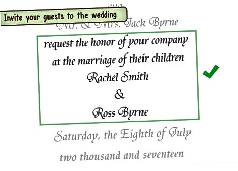 एक औपचारिक शादी के निमंत्रण के लिए समायोजन करना