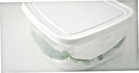 Emmagatzematge de fulles verdes en contenidors
