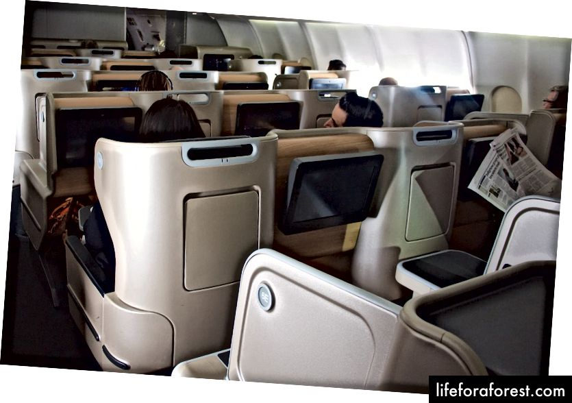 Qantas A330 innenlands Business Class Oversikt