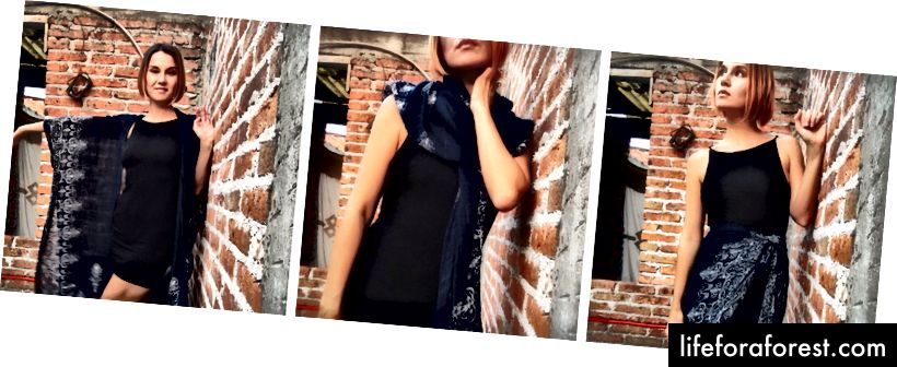 Маленька чорна сукня від Urban Outfitters, кімоно від Boutique Feliz в Сан-Мігель-де-Альенде, Мексика.