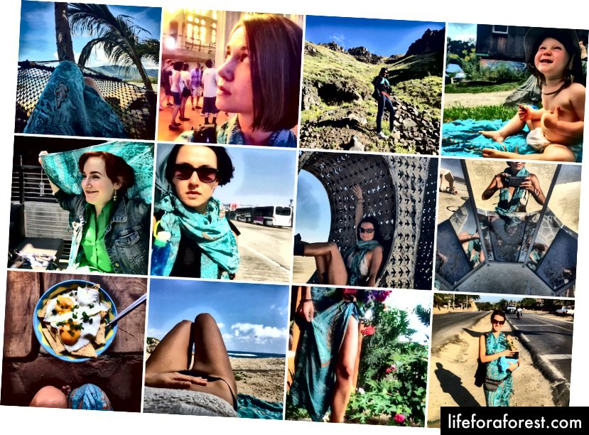 Denne turkise sarongen fra Bali har tjent mange formål i år, fra en kjole, badehåndkle og bikinipapir i Mexico; til et piknikteppe i Vermont; et skjerf for en annen reisende på Island; et solskjerm for en venn i San Francisco; et skuldertrekk på La Sagrada Familia i Barcelona; og et støvskjerf ved Burning Man i Nevada-ørkenen.