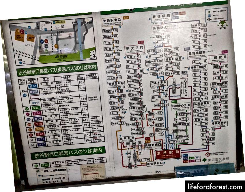 Jeg kunne bare få plass til en liten, så jeg gikk etter det enkle busskartet på Shibuya stasjon i Tokyo. Rørkartet passer ikke til telefonkameraet mitt