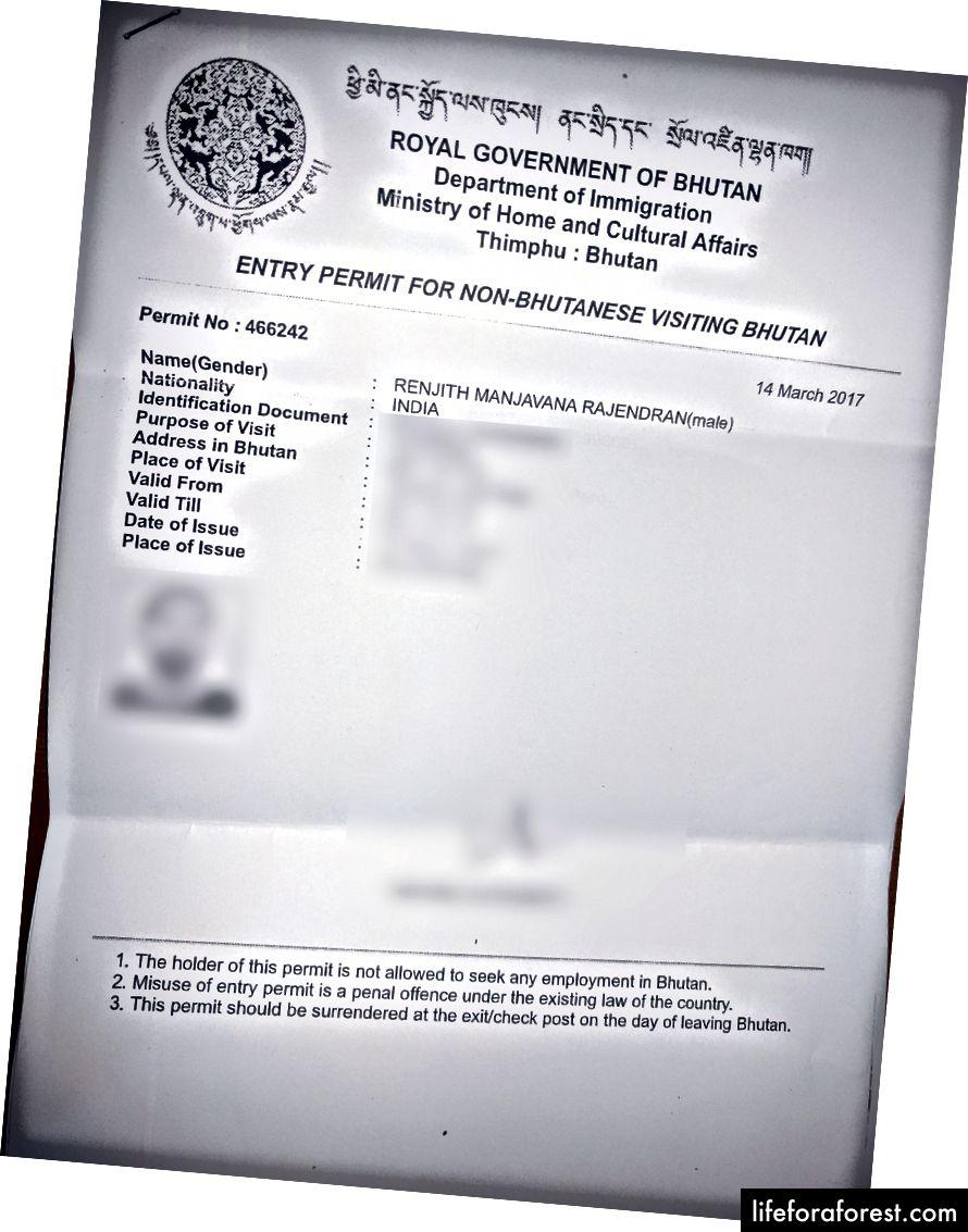 Iebraukšanas atļaujas Butānā kopija.
