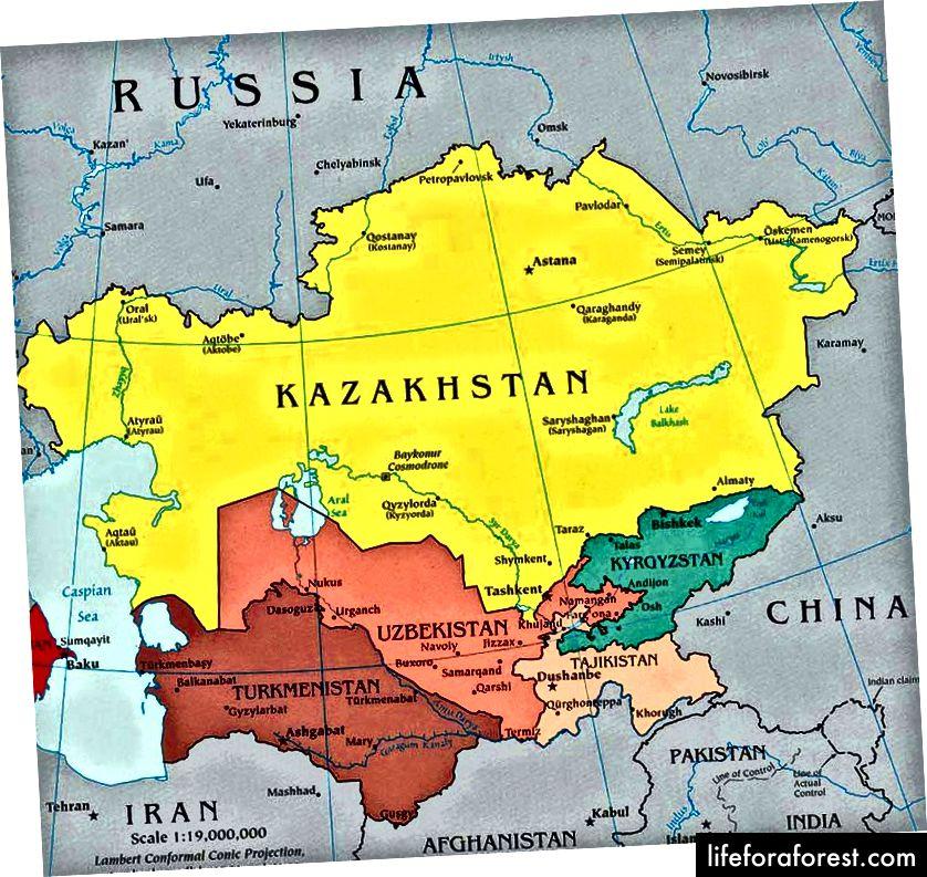 Asia Tengah Cantik. Mari belajar di mana setiap negara Asia Tengah terletak.