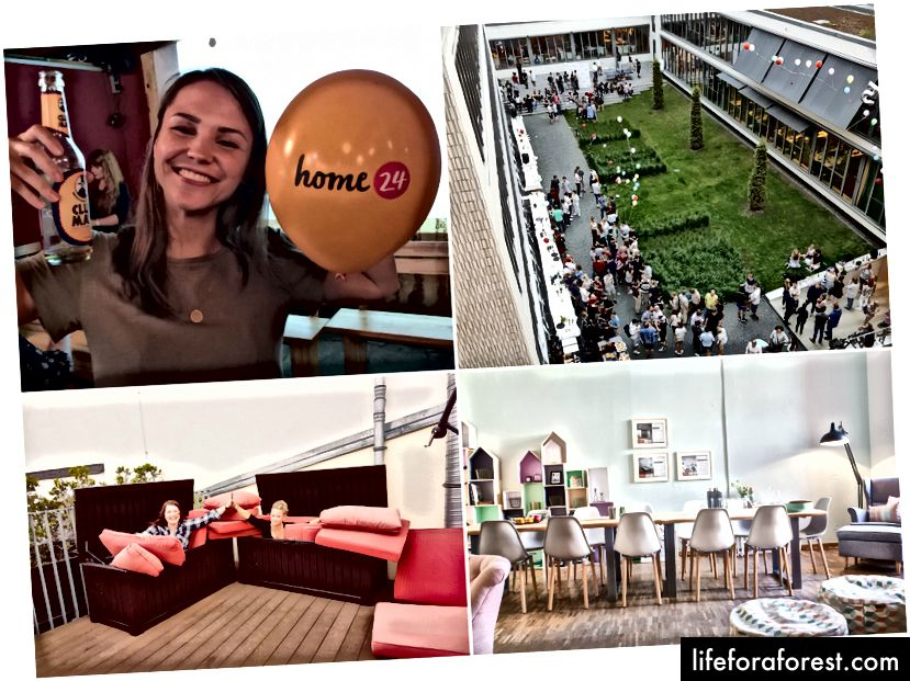 Home24 nổi tiếng với văn phòng đẹp (với đồ uống và đồ ăn nhẹ miễn phí!) Ở trung tâm của Berlin, các bữa tiệc, gặp gỡ công nghệ, yoga và các khóa học ngôn ngữ. Hình ảnh lịch sự: Home24.