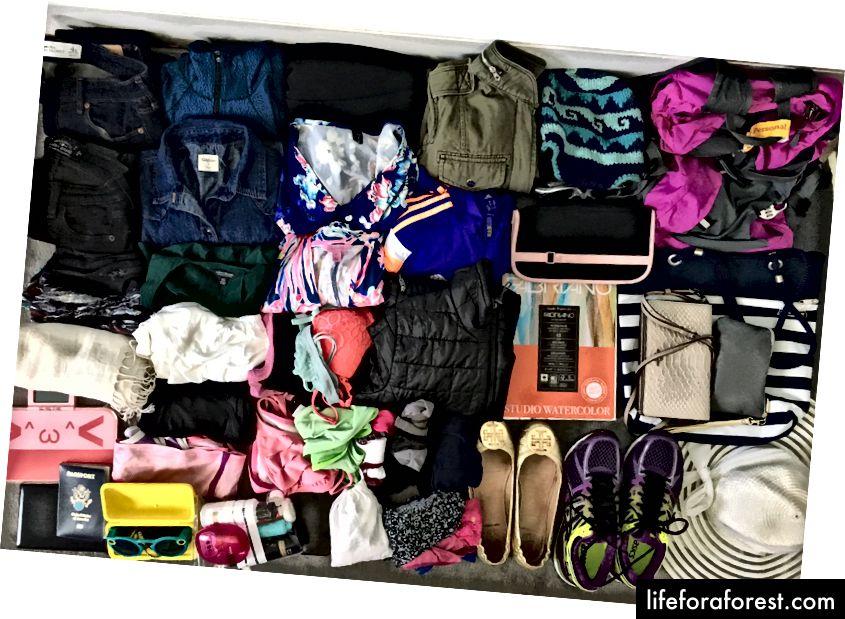 Sırt çantamdaki her şey! (Sırt çantam sağ üst köşedeki pembe damladır). Her şey uyuyor, yemin ederim!