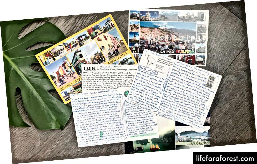 En samling postkort jeg har skrevet til meg selv gjennom årene