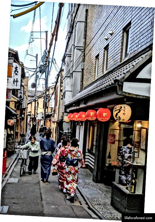 Japonya'nın Kyoto caddelerinde yayalar.