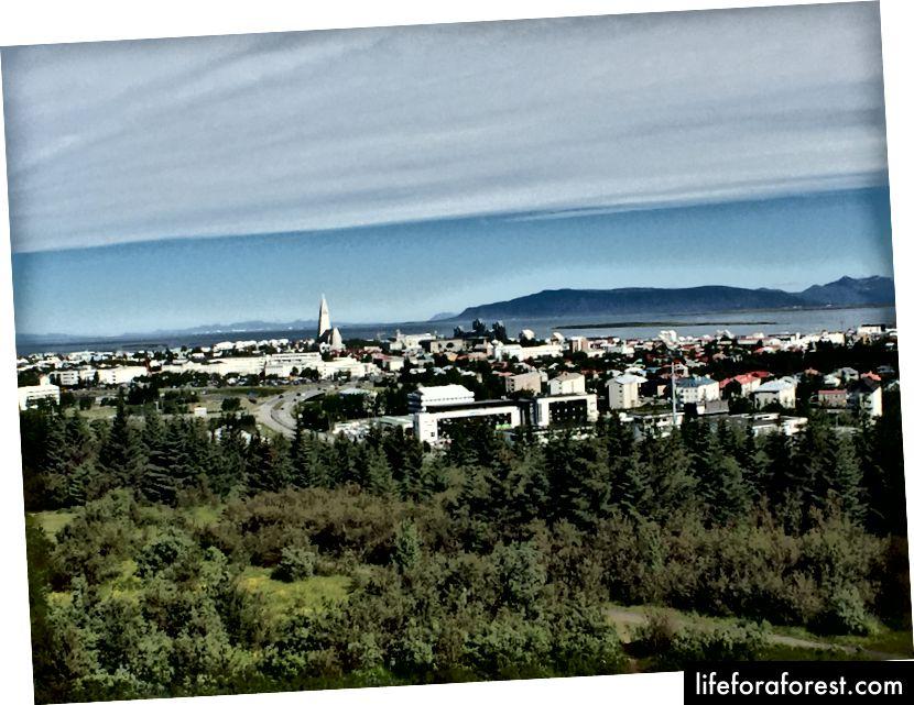 Nydelig utsikt fra observasjonsdekket på Perlan
