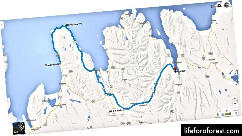 Dette er ruten vi tok fra Skagaströnd til Akureyri
