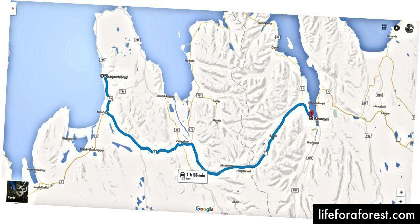 Den mest direkte ruten fra Skagaströnd til Akureyri