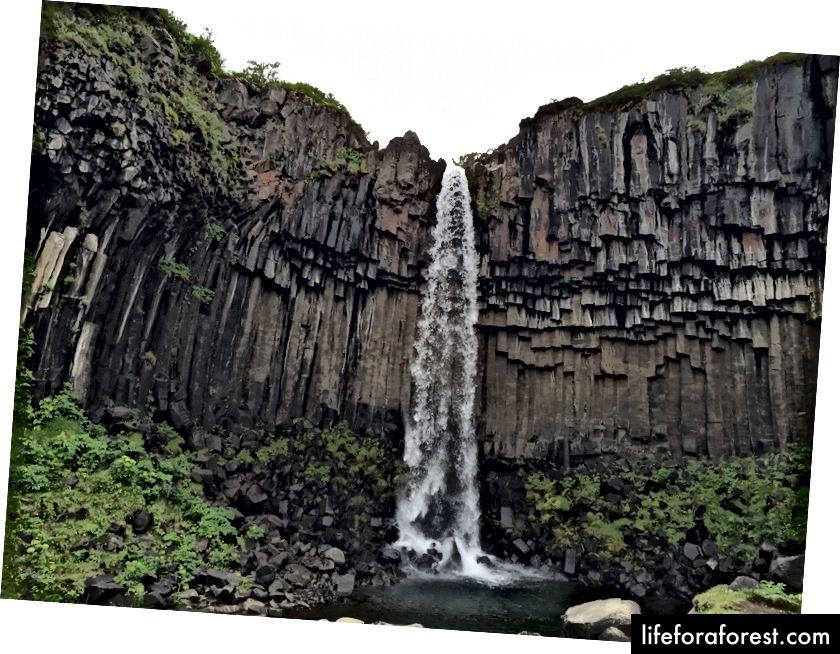Svartifoss, innrammet av basaltsøyler
