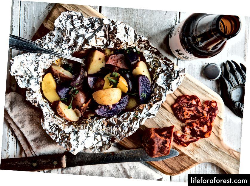 Grillet potet- og Chorizo-salatoppskrift her