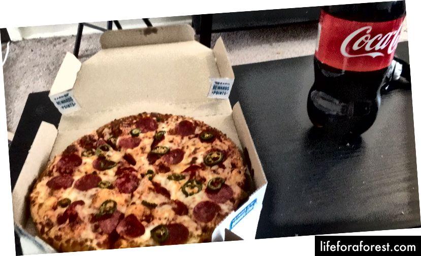 Fie că am mâncat pizza Dominos, fie CalZones cu coca de 2 litri în fiecare seară