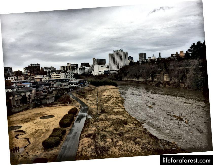 A Shot of Hirose River, viser lokale boliger (venstre) vs bedriftsbygg (høyre)