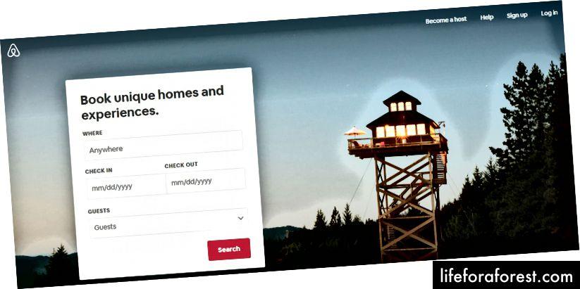 Головна сторінка Airbnb