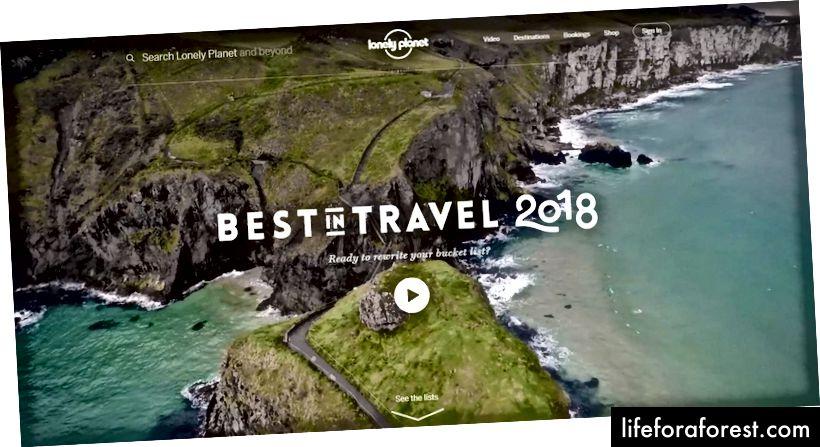 Lonely Planet'in 2018 En İyi Seyahat iniş sayfası