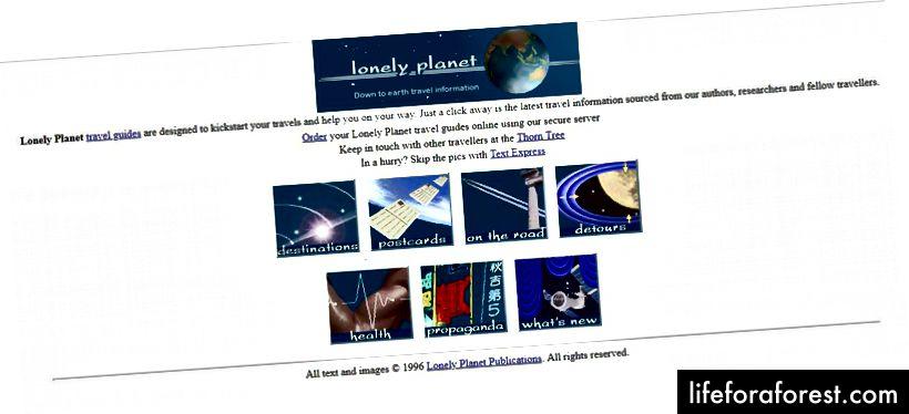 Lonely Planet'in 1996'daki ana sayfası, Wayback Machine'in izniyle
