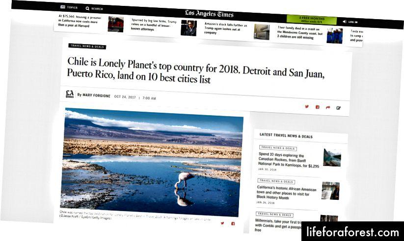 2018'de En İyi Seyahatte Los Angeles Times kapsamı