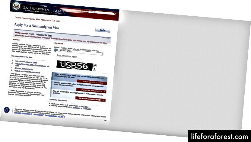 Start av online søknad om ikke-utvandrere (DS-160)