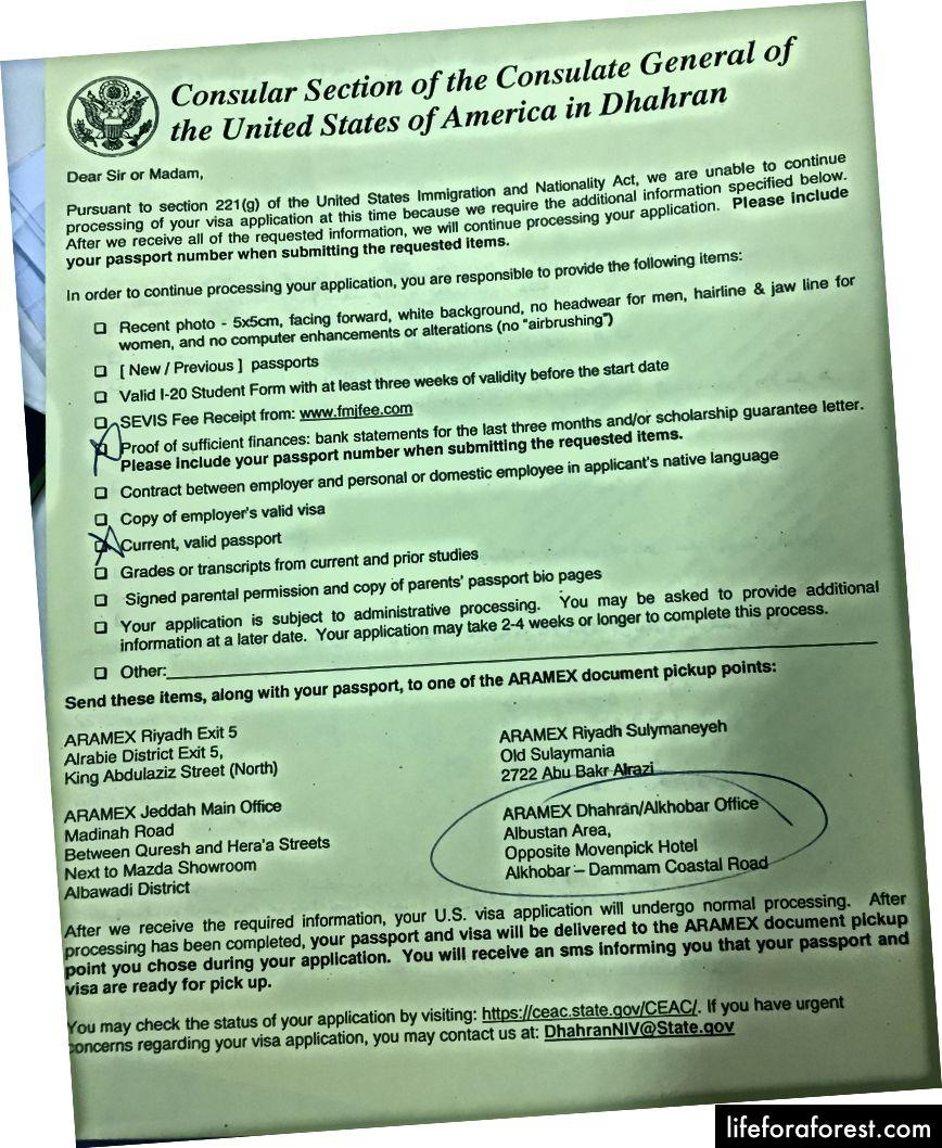 Instruksjonsside fra det amerikanske konsulatet for å slippe flere dokumenter for det amerikanske visumet for å fortsette den normale prosessen, ofte mottatt når du faller inn under kategorien til seksjon 221 (g).