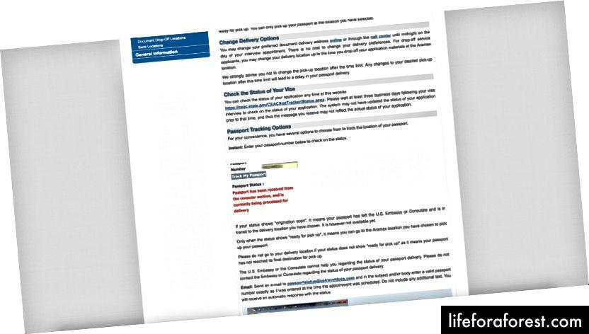 Passstatuskontroll på CGIFederal den syvende dagen etter at de nødvendige dokumentene ble levert til det amerikanske konsulatet.