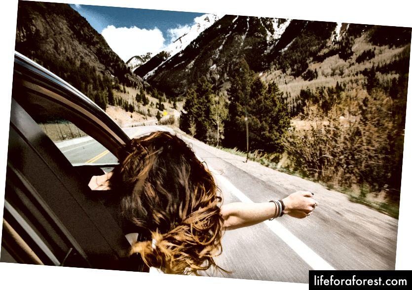 """""""Ung kvinne lener seg ut bilvinduet for å kjenne den friske fjelluften"""" av averie Woodard på Unsplash"""