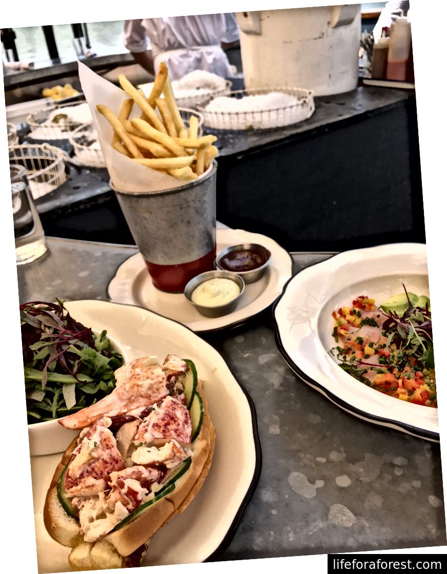 Lobster rulosi (pastki chapda); Frantsuzcha kartoshka (yuqori o'rta); Ceviche (o'rtada o'ngda)