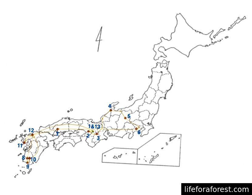 Izkoristim prednost prehoda JR. 1) Pristal v Osaki - mednarodnem letališču Kansai (KIX) in se odpravil na 2) Kobe 3) Nara 4) Kanazawa 5) Nagano 6) Kanagawa 7) Hiroshima 8) Kagošima 9) Ibusuki, Kagošima 10) Sakurajima, Kagošima 11) Nagasaki 12 ) Hakata 13) Nazaj na Osako / KIX
