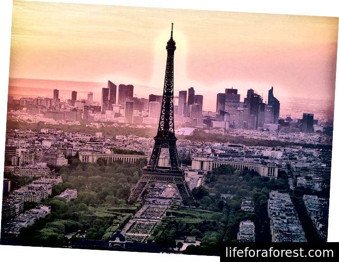 Eiffeltårnet, hentet fra Tour Montparnasse, rett før solnedgang