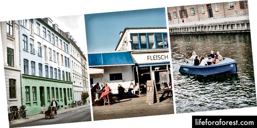 De la stânga: bucurați-vă de modul preferat de transport al orașului; în însoritul Vesterbro; o gustare de seară devreme pe apă
