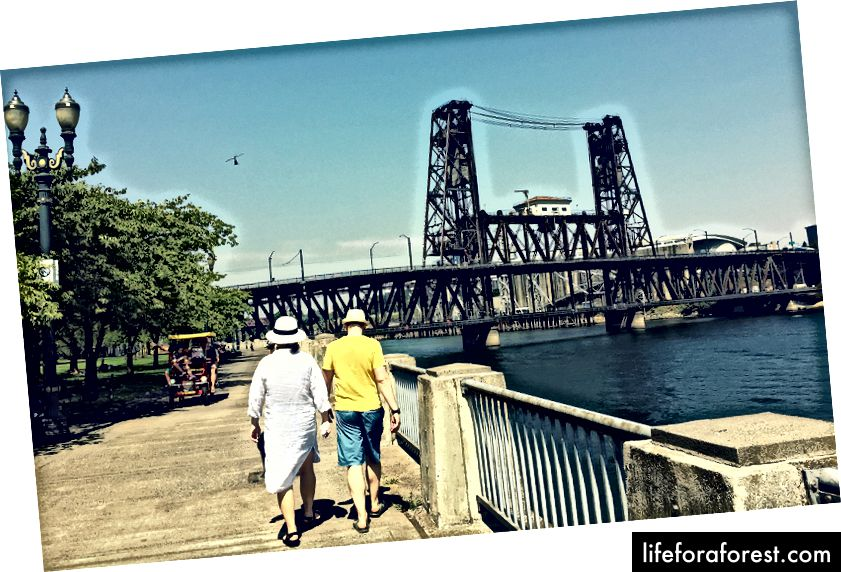 Jalutage või jalgrattasõit mööda Willamette'i jõge mööda esplanaadi, et hinnata muljetavaldavaid sildu.
