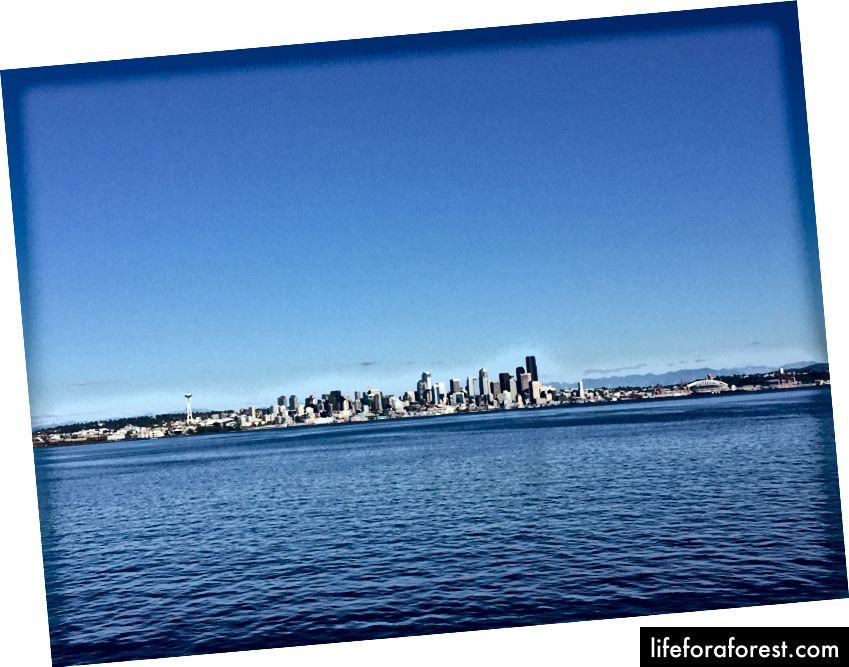 Seattle-skyline fra Bainbridge Ferry.