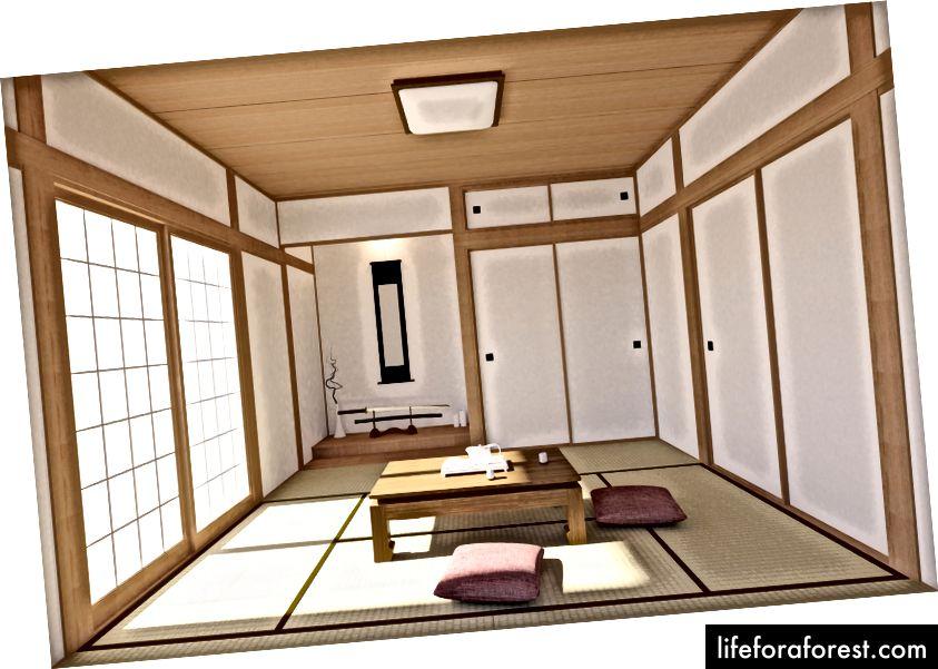 Tatami mat qavati, yapon Shoji eshiklari va yapon qilichi bilan an'anaviy va minimal ichki dizayn © Gee