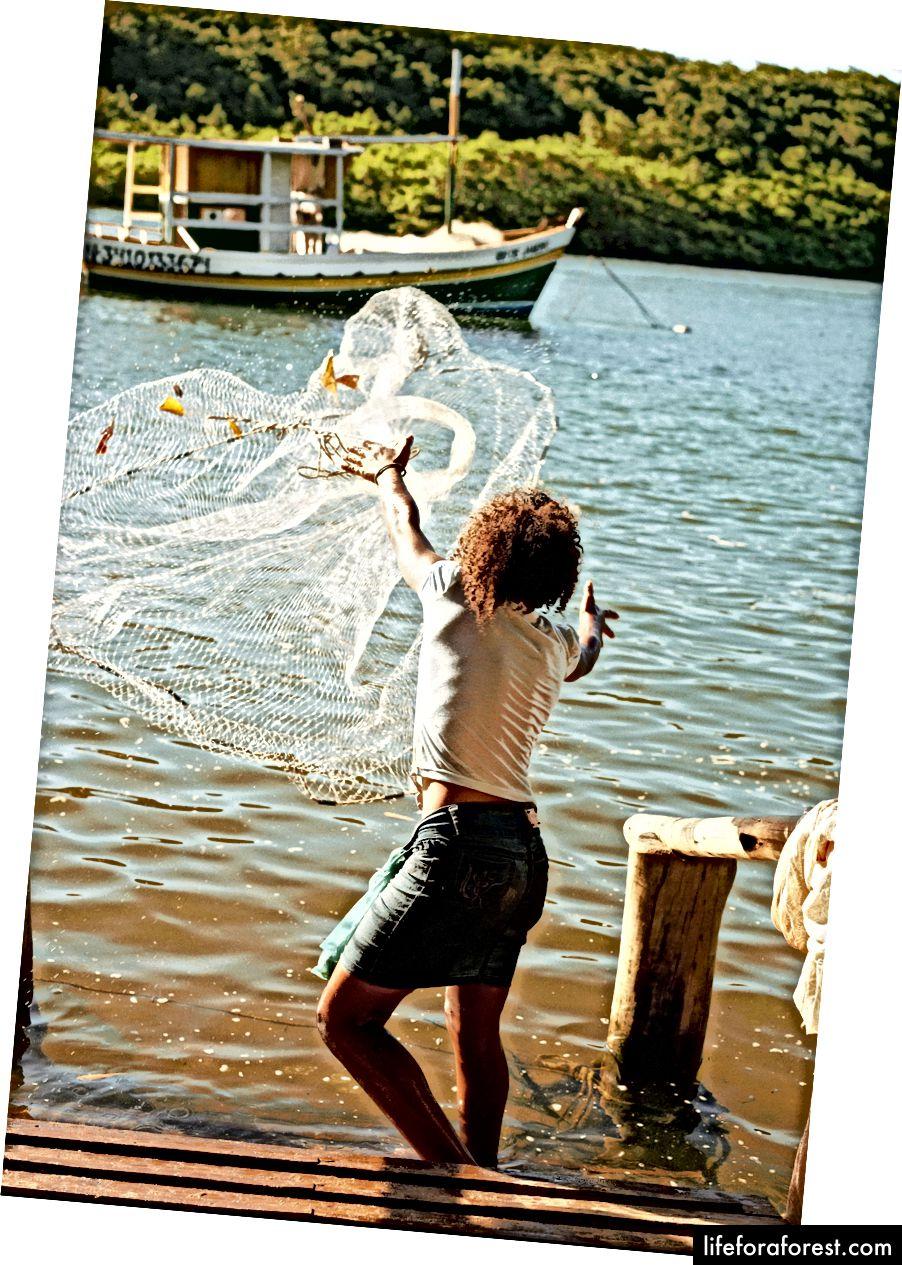 En lokal fisker arbeider Caraíva-elven for en ferskvannsdrift.
