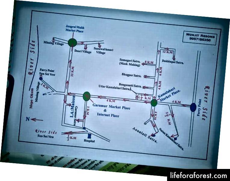 Bản đồ những thứ để xem ở Majuli.