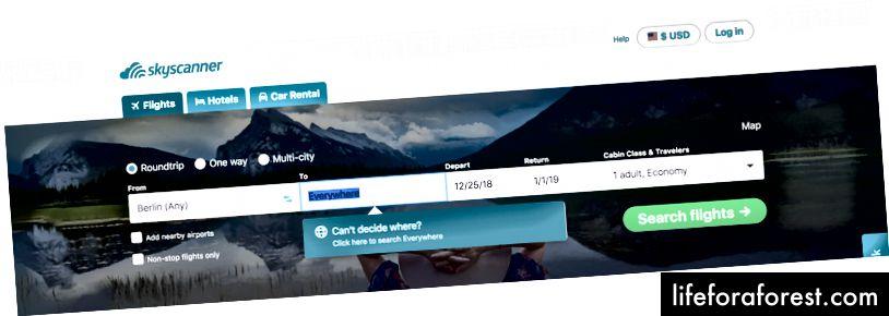 Trang web SkyScanner